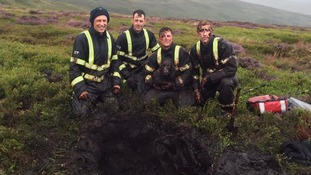 Pup rescued after falling five feet down moorland bog