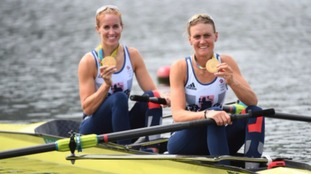Glover and Stanning celebrate their gold medal