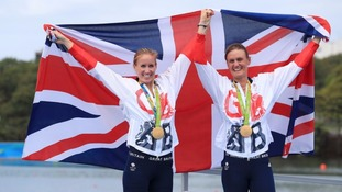 Great Britain's Helen Glover (left) and Heather Stanning (right) celebrate winning gold in the Women's Pair Final at The Lagoa Stadium on the seventh day of the Rio Olympic Games, Brazil.