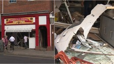 VIDEO: Norwich Butcher's shop destroyed after car crashes though front window
