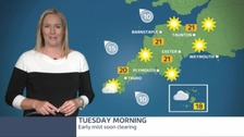 Today looks set for sunshine as temperatures rise to 21C