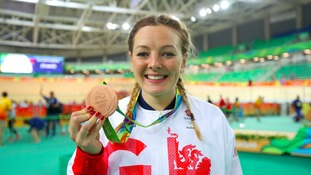 Great Britain's Katy Marchant poses with her medal after winning bronze in the women's sprint.