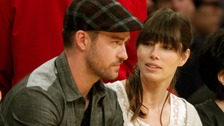 Justin Timberlake and Jessica Biel pictured watching basketball in May