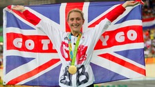 Laura Trott on the podium after winning gold in the Women's Omnium.