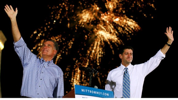 Republican presidential candidate Mitt Romney and running mate Paul Ryan