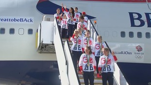 GB Olympians getting off the plane at Heathrow.