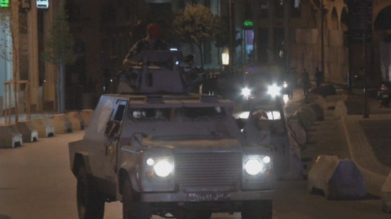 Security vehicles take to the streets of Lebanon's capital, Beirut