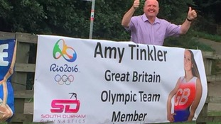 Banner welcoming home Olmypic medalist Amy Tinkler taken by thieves