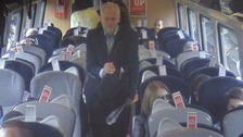 Corbyn seen passing empty seats on London-Newcastle train he claimed was 'rammed'