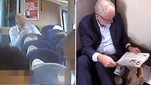 Jeremy Corbyn seen sitting on seat on 'rammed' train