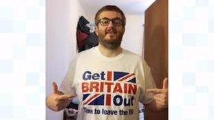 Geoffrey Farquharson wearing a Vote Leave T-shirt