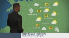 Fine and warm on Wednesday, but thundery showers possible later.
