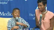 Boy with world's first double hand transplant one year on