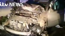 Driver runs off after four vehicle collision