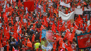 Anti-austerity demonstrators march through London