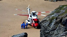 A 13-year-old boy has been airlifted to hospital after injuring his ankle on a Cornish beach.