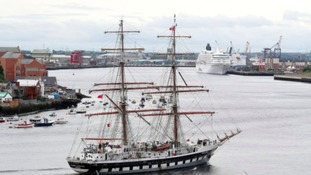 The Tall Ship Stavros S Niarchos training on the River Tyne, ahead of the North Sea Tall Ships Regatta which takes place in Blyth.