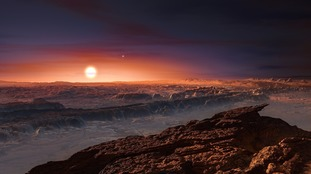 An artist's impression showing a view of the rocky surface of Proxima b.