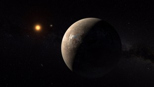 An artist's impression showing the planet Proxima b orbiting the red dwarf star Proxima Centauri.