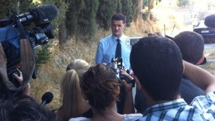 Det Supt Matt Fenwick, of South Yorkshire Police, talks to the press in Kos.