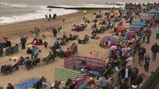 Crowds on the beach for the Clacton Airshow