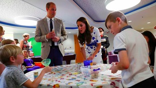 The Duke and Duchess of Cambridge are presented with a personalised memory jar