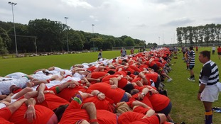 World record for largest scrum broken in Cardiff after 1,297 players take part