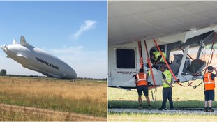 Airlander crash lands during second test flight in Bedfordshire