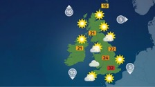 Weather: Very warm, with thunderstorms developing