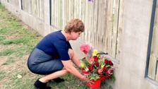 British High Commissioner to Australia Menna Rawlings laying flowers