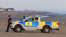 Police at Camber Sands yesterday
