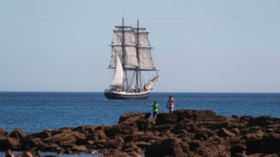 Tall ship Morgenster arrives in the North Sea at Tynemouth ahead of the Tall Ships Regatta.