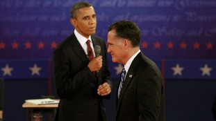 President Obama and Governor Romney in the last debate