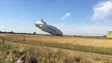 Airlander crash: Mooring rope hits power line moments before