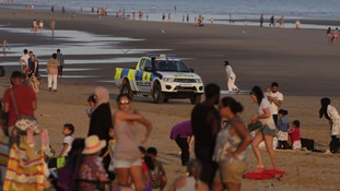 Police patrolled Camber Sands on Thursday
