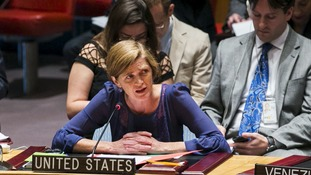 US ambassador to the UN Samantha Power address the Security Council on the topic of chemical weapons use in Syria.