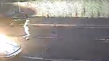 CCTV shows thugs set fire to car in east London street.