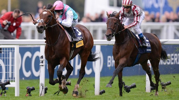 Frankel ridden by Tom Queally wins of the Qipco Champion Stakes