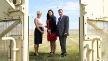 Sue McAllister with Justice Minister Claire Sugden and Stephen Davis, Governor of Maghaberry.