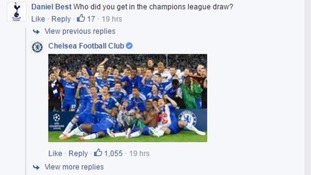 Chelsea FC official Facebook page trolls Tottenham fan over the Champions League draw
