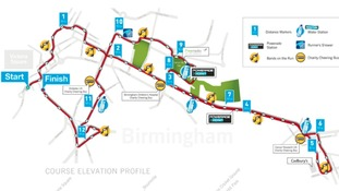 Map showing the route of the Birmingham Half Marathon