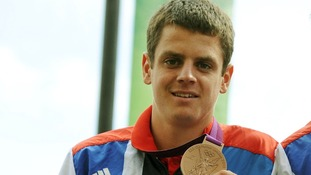 Jonathan Brownlee with his Olympic bronze medal