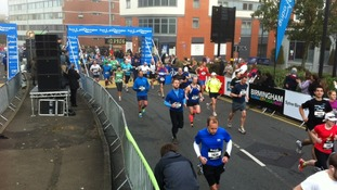 The misty start line of the Birmingham Half Marathon