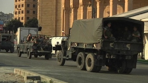 Security surrounds a mosque in central Martyrs' Square
