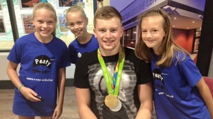 Adam Peaty meeting those at Uttoxeter Leisure Centre for I AM TEAM GB