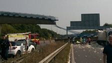 Bridge collapses onto the M20 closing motorway in both directions
