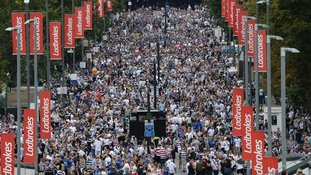 Thousands pack out Wembley Way ahead of Challenge Cup final