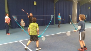 Badminton was one of the sports on offer.