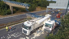 "M20 motorway likely to be closed ""at least until midday Sunday"" after lorry strikes bridge causing it to collapse"
