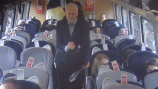 CCTV appeared to show Mr Corbyn walking past empty train seats.